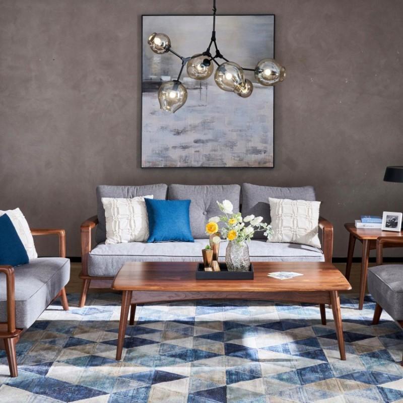 莫霞致简北欧实木家具客厅简约沙发组合茶几方几圆几角几1603
