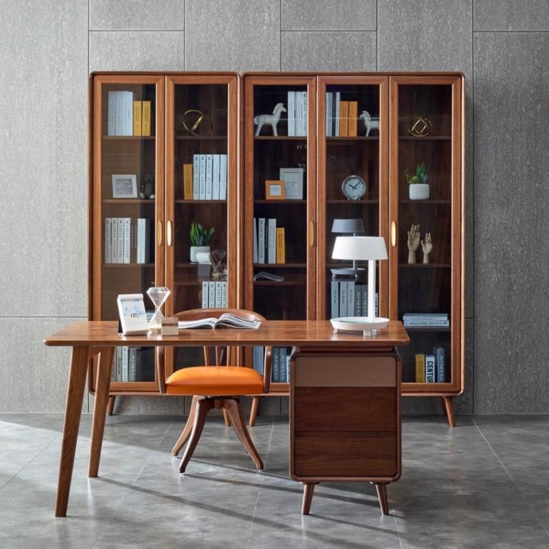 莫霞致简北欧风实木家具书房书柜组合书桌书椅1605