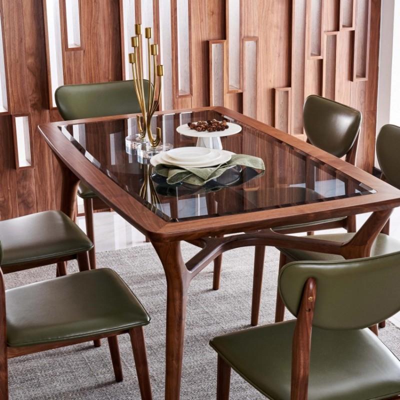 莫霞致简北欧风餐厅实木家具餐桌1607+餐椅1603+高边酒柜1605