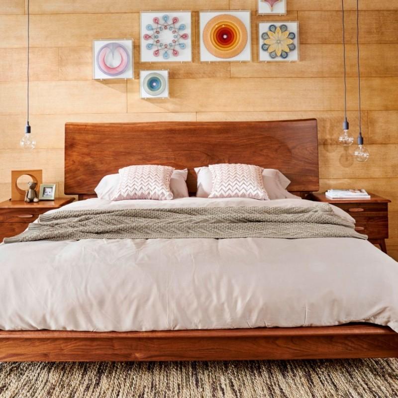 莫霞致简北欧风餐厅实木家具卧室实木大床床头柜1607
