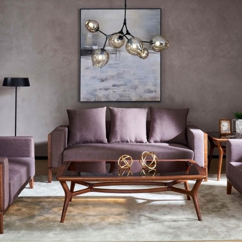 莫霞致简北欧风餐厅实木家具客厅沙发组合茶几角几1609