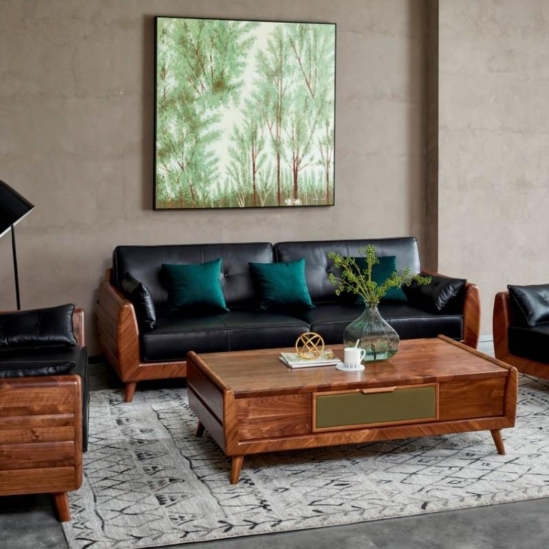 莫霞致简北欧风餐厅实木家具客厅沙发组合茶几1610