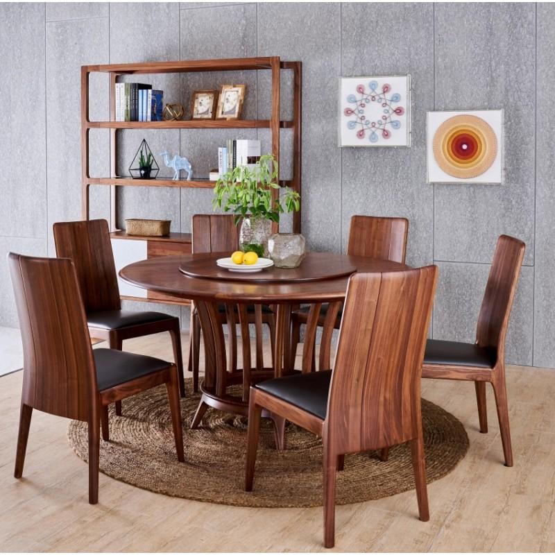 莫霞致简北欧风餐厅实木家具圆餐桌餐椅1602+装饰架1607