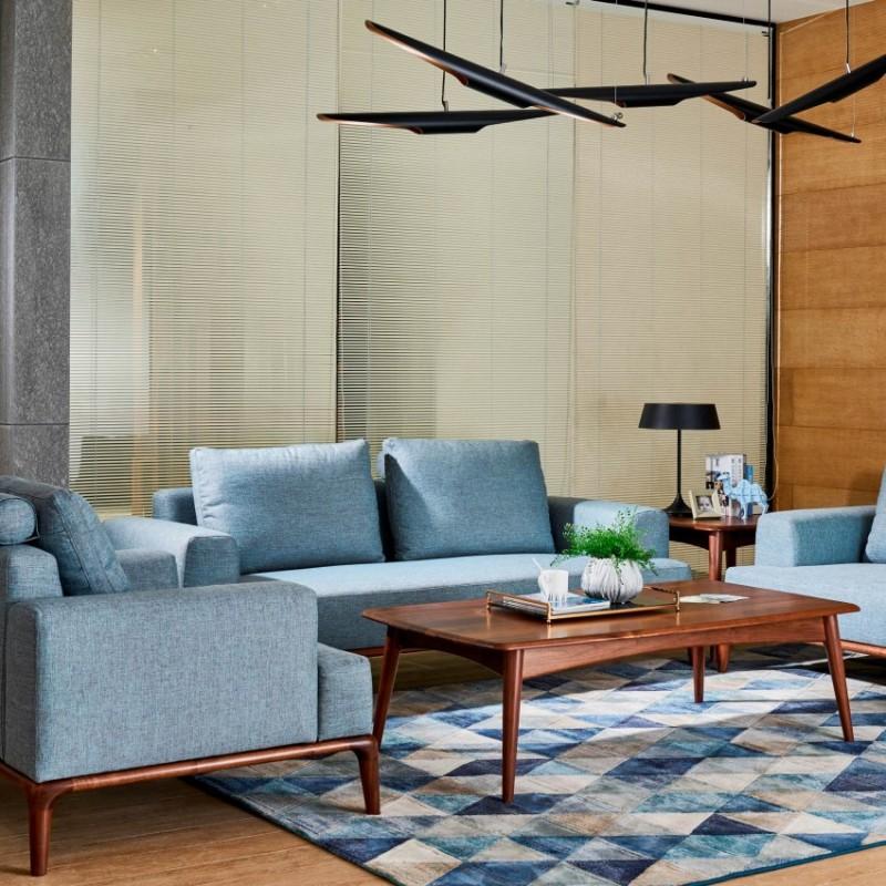 莫霞致简北欧风实木家具沙发组合茶几1607