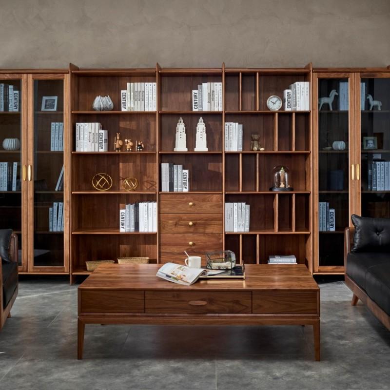 莫霞致简北欧风实木家具书房书柜组合1610+长茶几1609