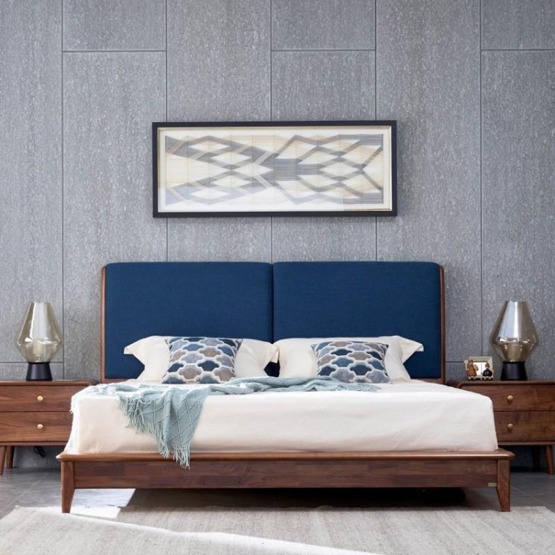 莫霞致简北欧风实木家具卧室大床1623