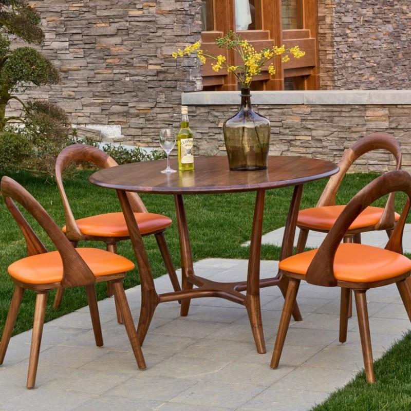 莫霞致简北欧风实木家具小圆桌1623+餐椅1610