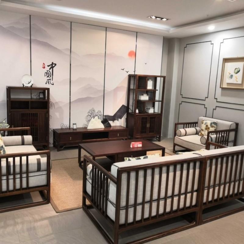 禅语新中式实木家具客厅黑檀沙发组合茶几角几电视柜组合柜-1