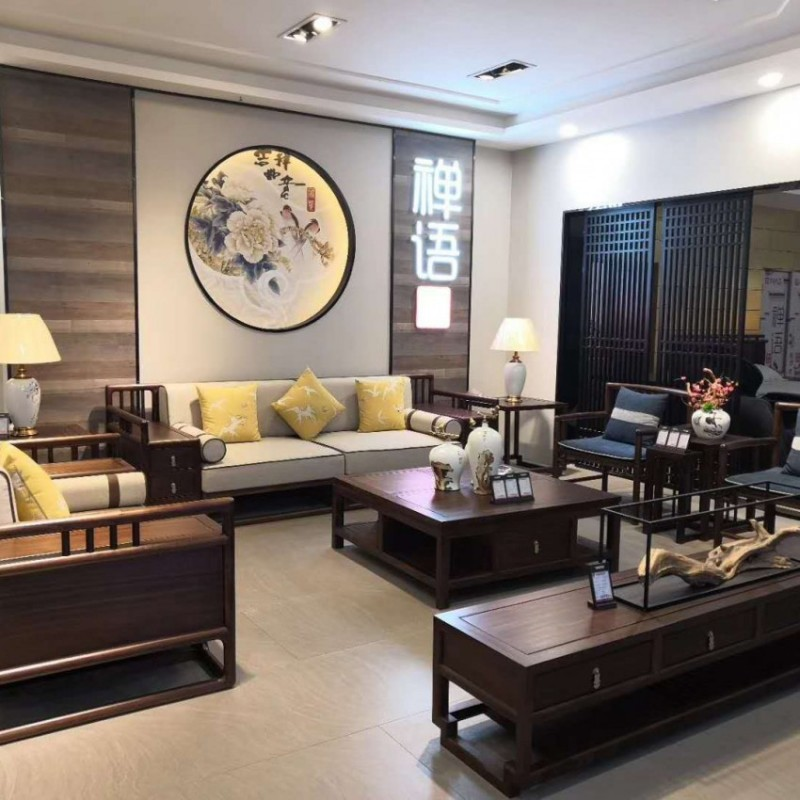 禅语新中式实木家具客厅黑檀沙发组合茶几休闲椅电视柜组合柜-1