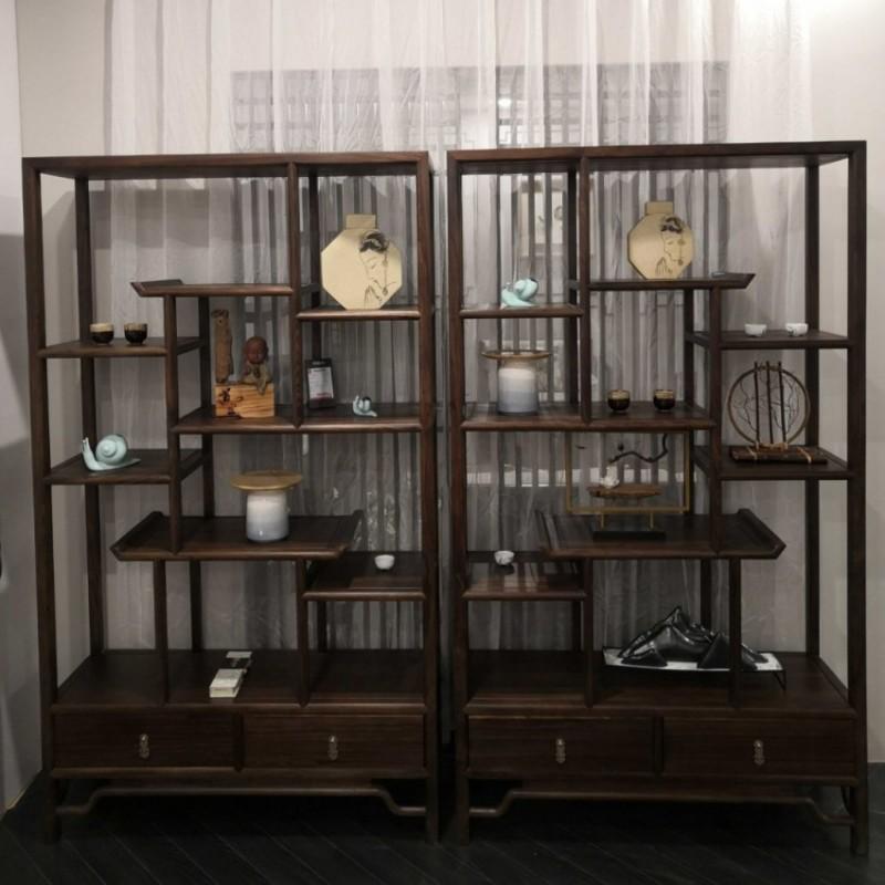 禅语新中式实木家具黑檀博古架展示架