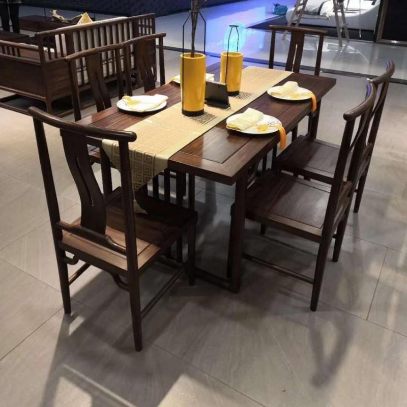 禅语新中式实木家具黑檀餐厅餐桌椅