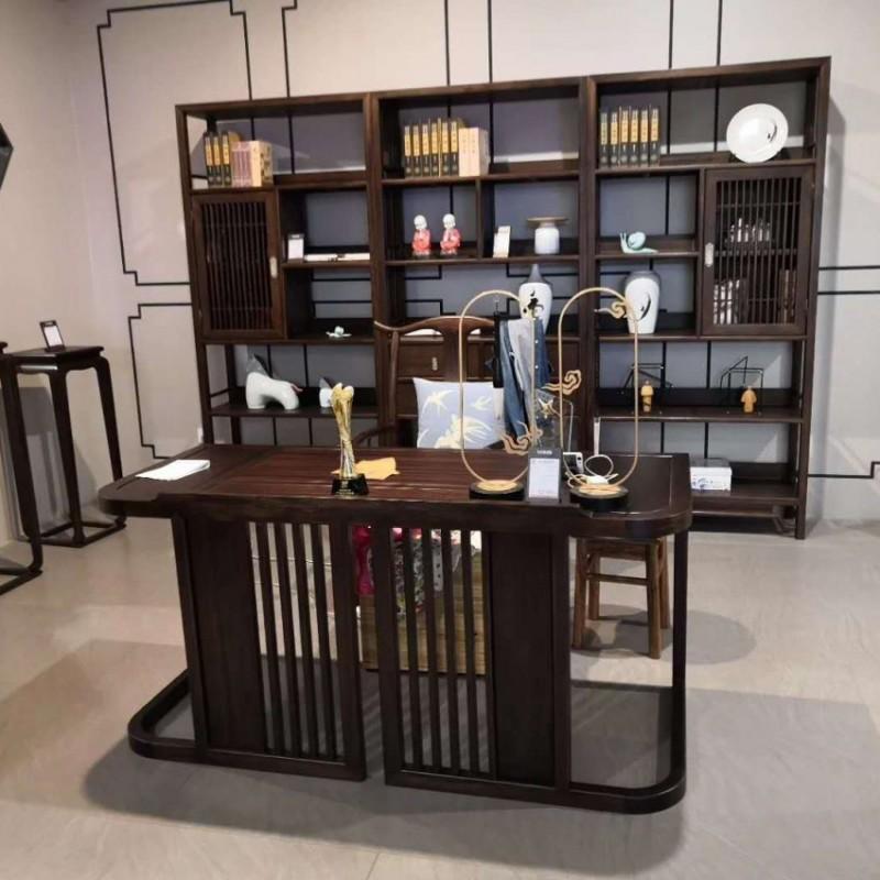 禅语新中式实木家具黑檀书架书桌书椅
