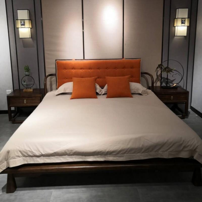 禅语新中式实木家具黑檀卧室大床床头柜-1