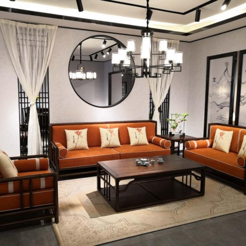 禅语新中式实木家具客厅黑檀沙发组合茶几角几-2