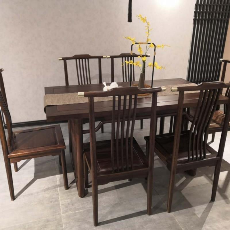 禅语新中式实木家具黑檀餐厅餐桌椅-1