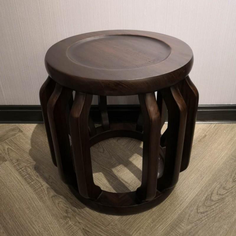 禅语新中式实木家具黑檀茶凳圆凳