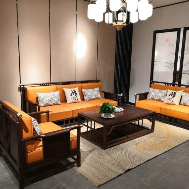禅语新中式实木家具客厅黑檀沙发组合茶几角几-3