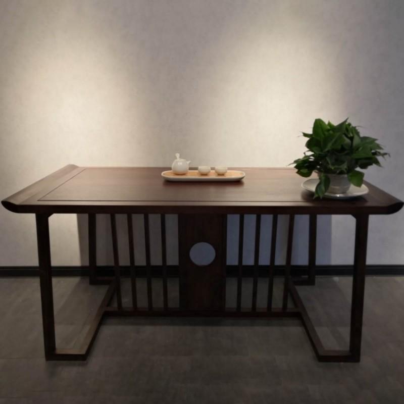 禅语新中式实木家具客厅黑檀实木茶桌茶台