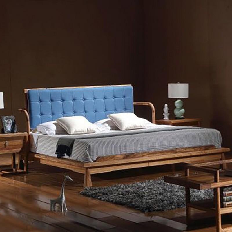 禅语新中式实木家具卧室实木大床床头柜