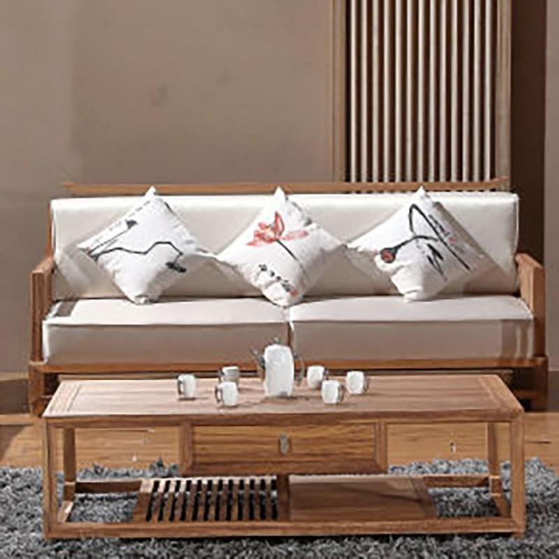 禅语新中式实木家具客厅沙发组合茶几角几