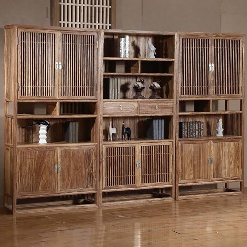 禅语新中式实木家具书柜书橱组合书柜