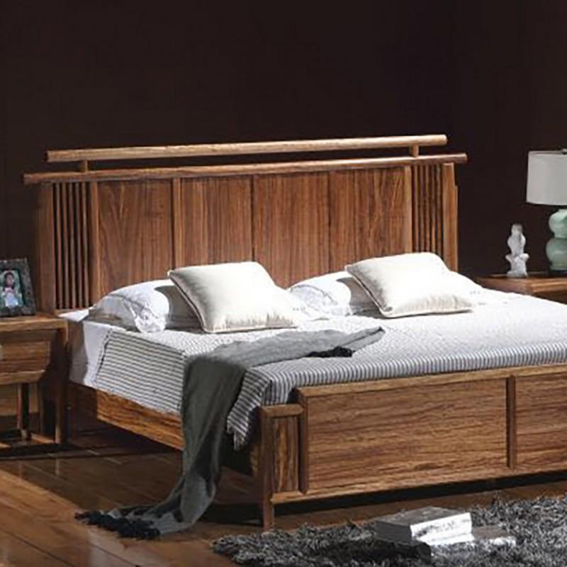 禅语新中式实木家具卧室实木大床床头柜-1