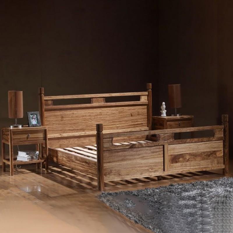 禅语新中式实木家具卧室实木大床床头柜-2