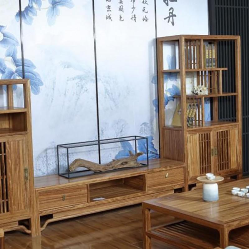 禅语新中式实木家具客厅电视柜边柜立柜组合柜