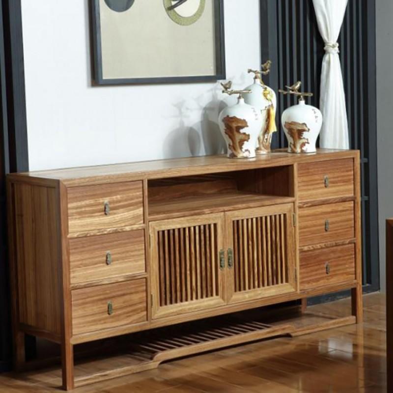 禅语新中式实木家具客厅边柜立柜玄关柜