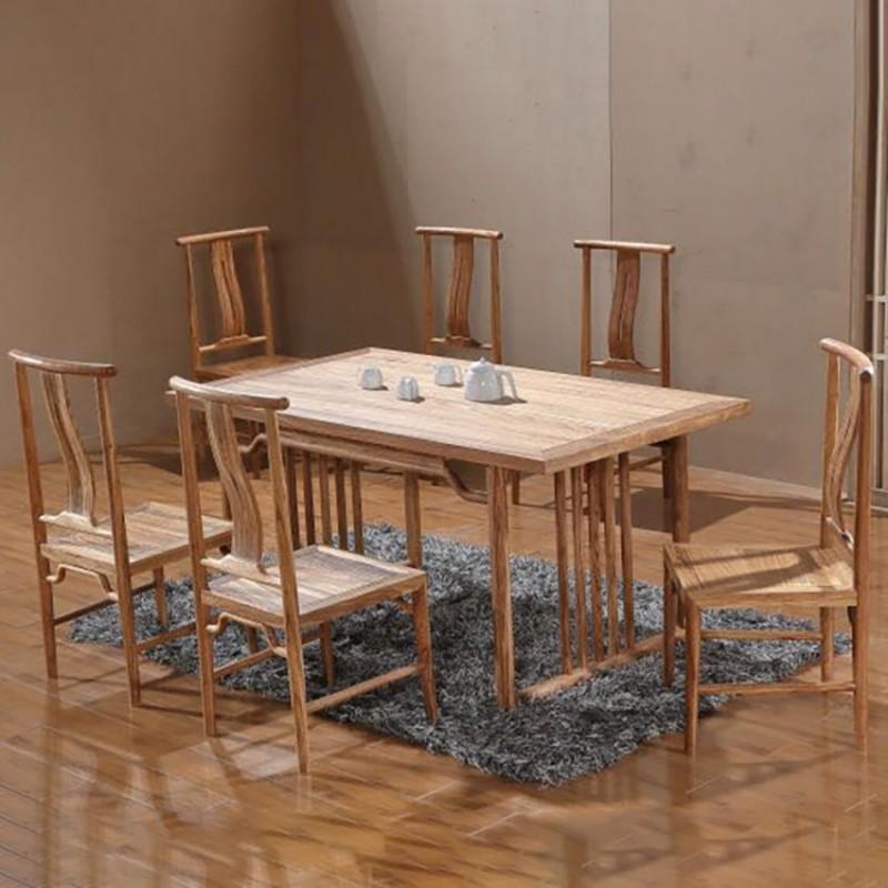 禅语新中式实木家具餐厅餐桌餐椅-1