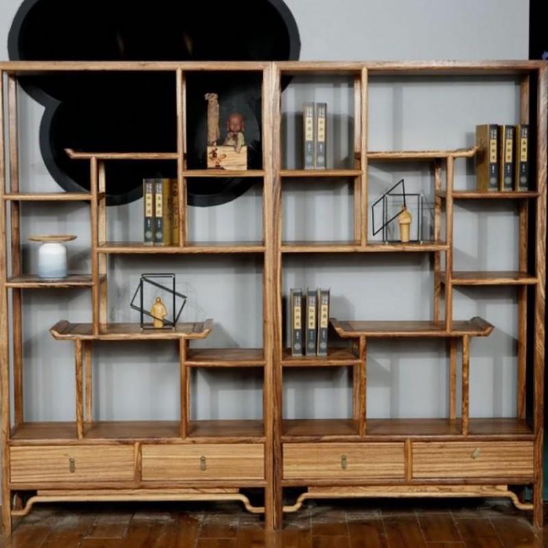 禅语新中式实木家具书房书架组合架书柜
