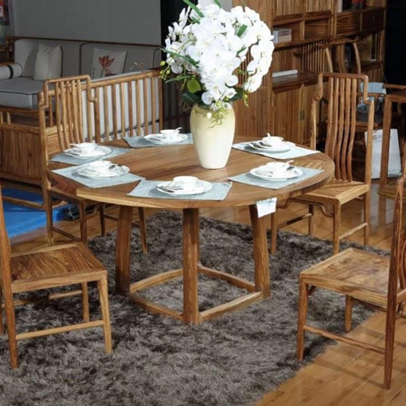 禅语新中式实木家具餐厅圆餐桌餐台餐椅