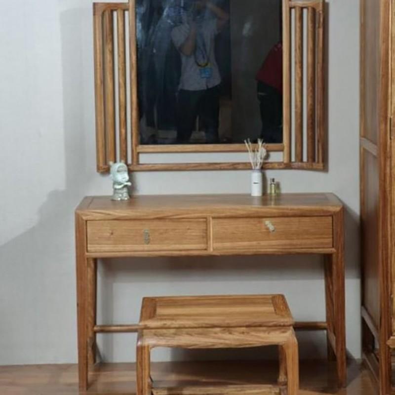 禅语新中式实木家具卧室梳妆台妆镜妆凳