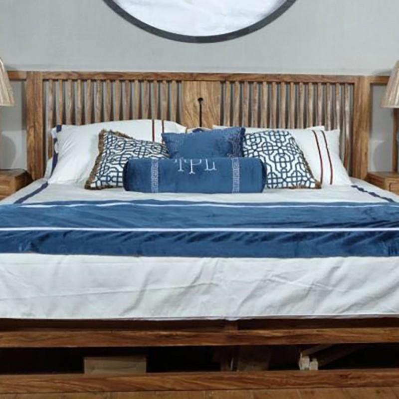 禅语新中式实木家具卧室实木大床床头柜-3