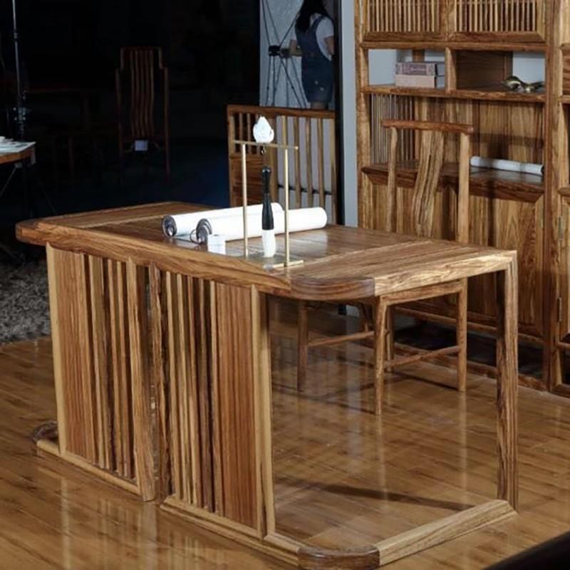 禅语新中式实木家具书房书桌书椅-1