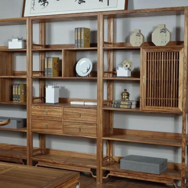 禅语新中式实木家具书房书架组合架书柜-1