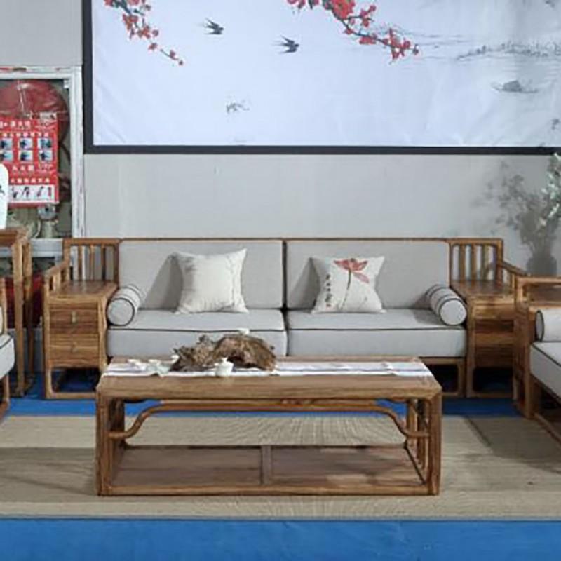 禅语新中式实木家具客厅沙发组合茶几角几-1