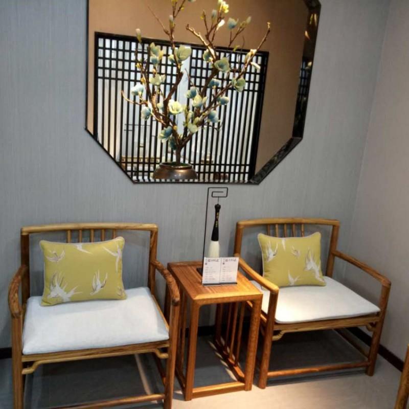 禅语新中式实木家具休闲椅休闲沙发方几
