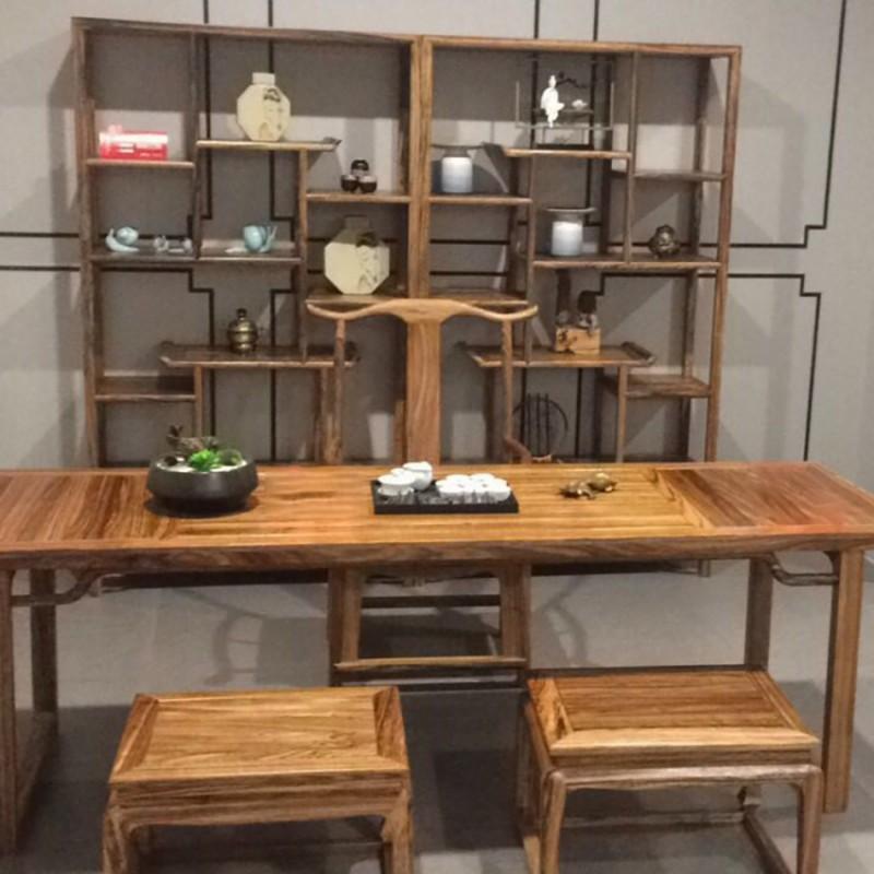 禅语新中式实木家具茶桌茶椅茶凳-1