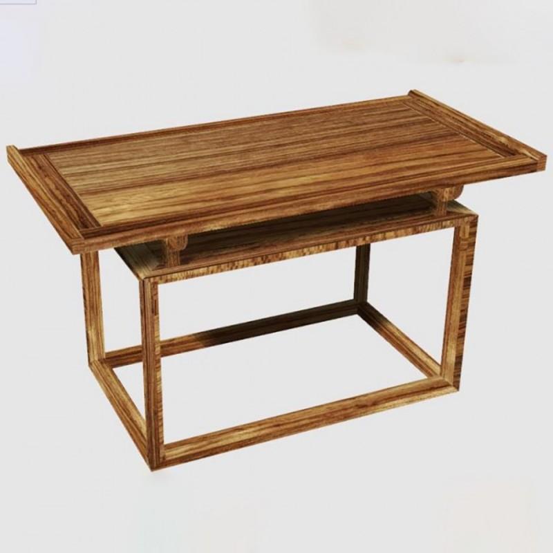 禅语新中式实木家具茶桌茶椅茶凳-2
