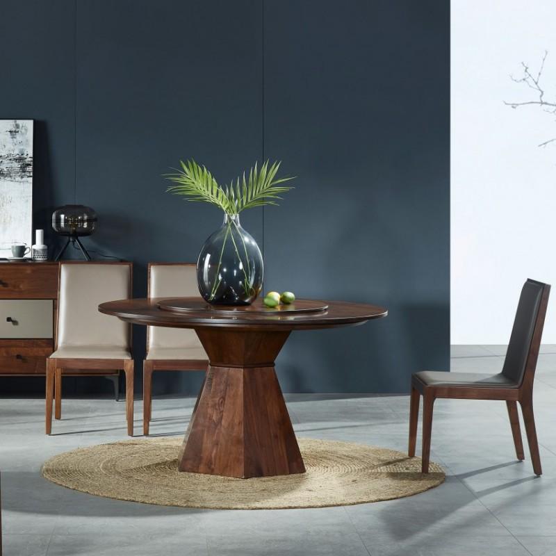 莫霞木各北欧风实木家具1801-B圆餐桌+1802-B餐椅+1802餐具柜