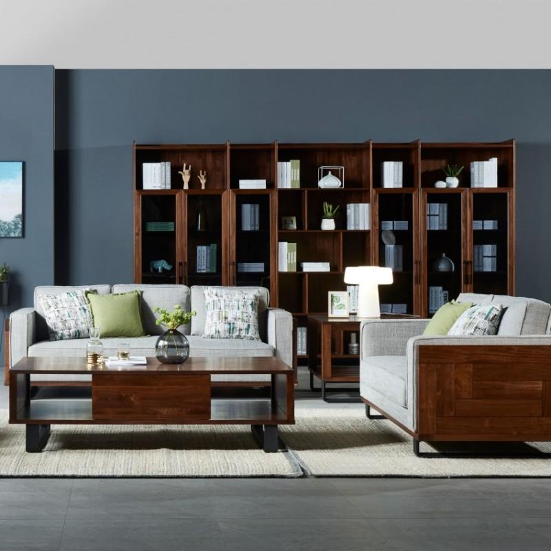 莫霞木各北欧风实木家具1801沙发+1803书柜