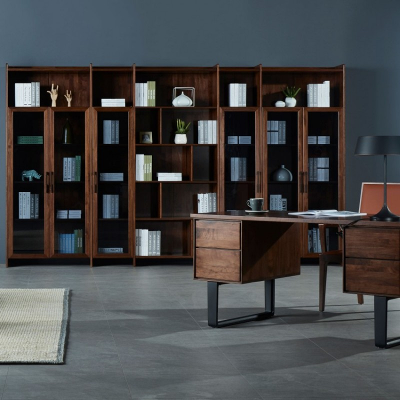莫霞木各北欧风实木家具1801书桌+1803书柜