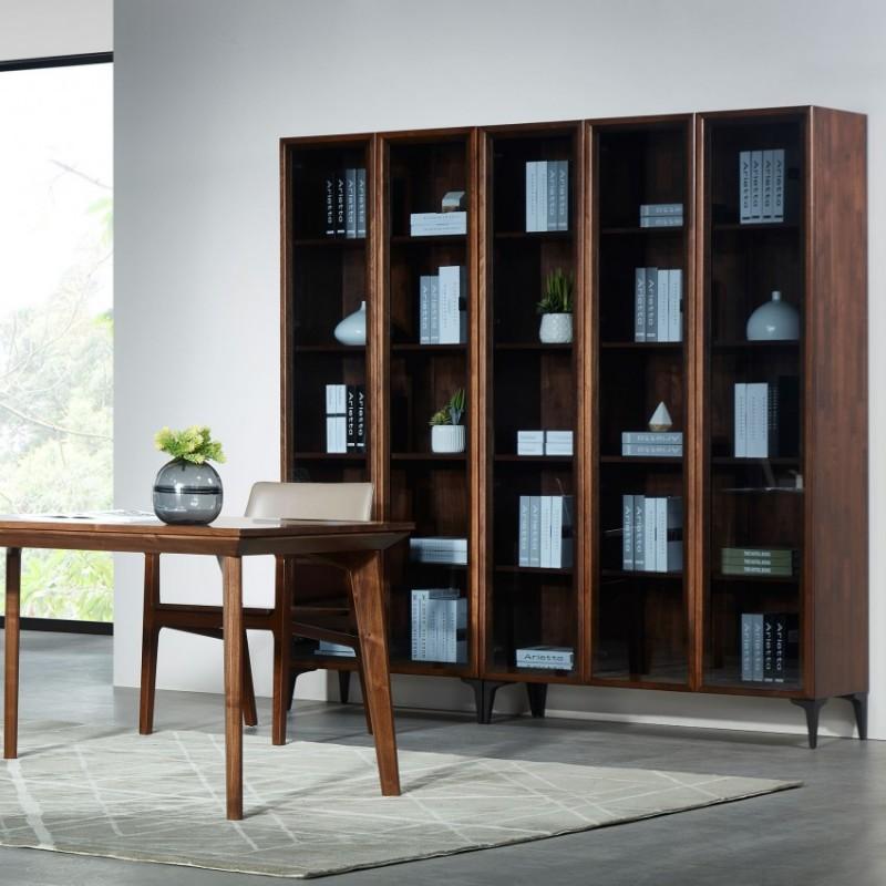 莫霞木各北欧风实木家具1802五门书柜+1805书桌