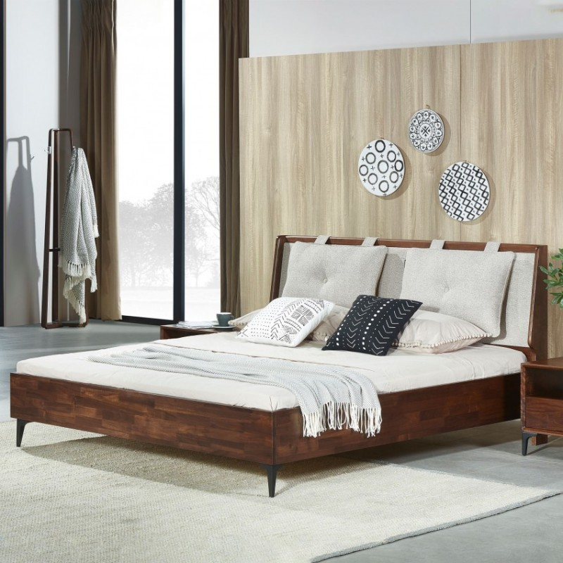 莫霞木各北欧风实木家具1803-B床+1803梳妆台梳妆凳+1803挂衣架