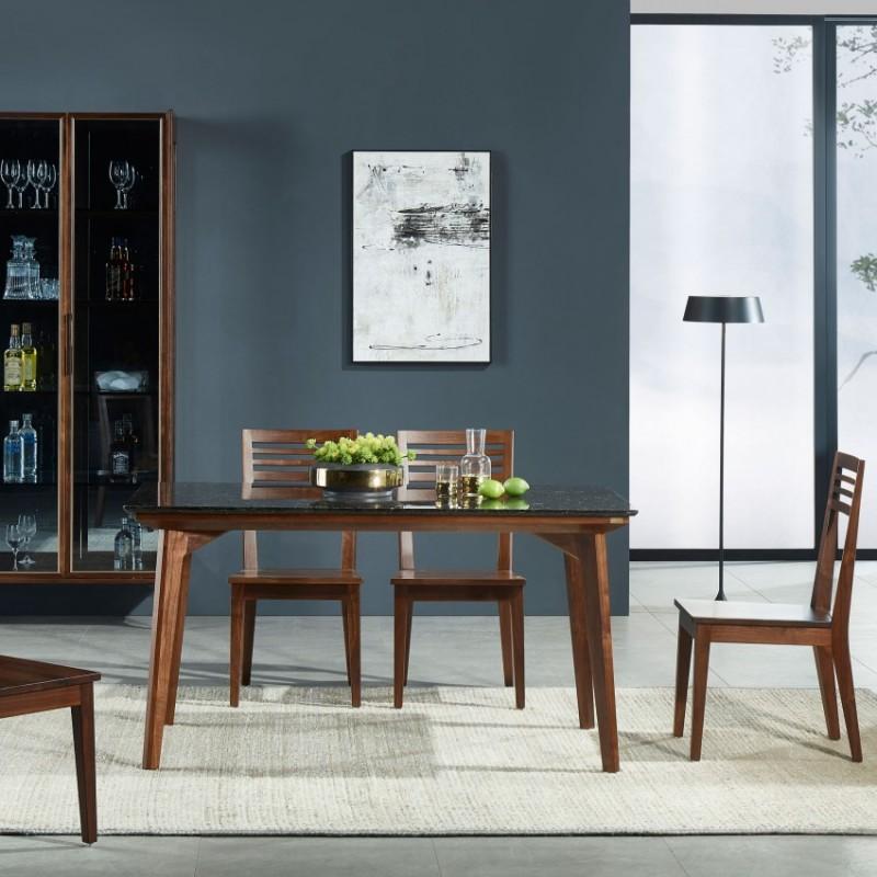 莫霞木各北欧风实木家具1805餐桌椅+装饰柜+1803-B酒柜