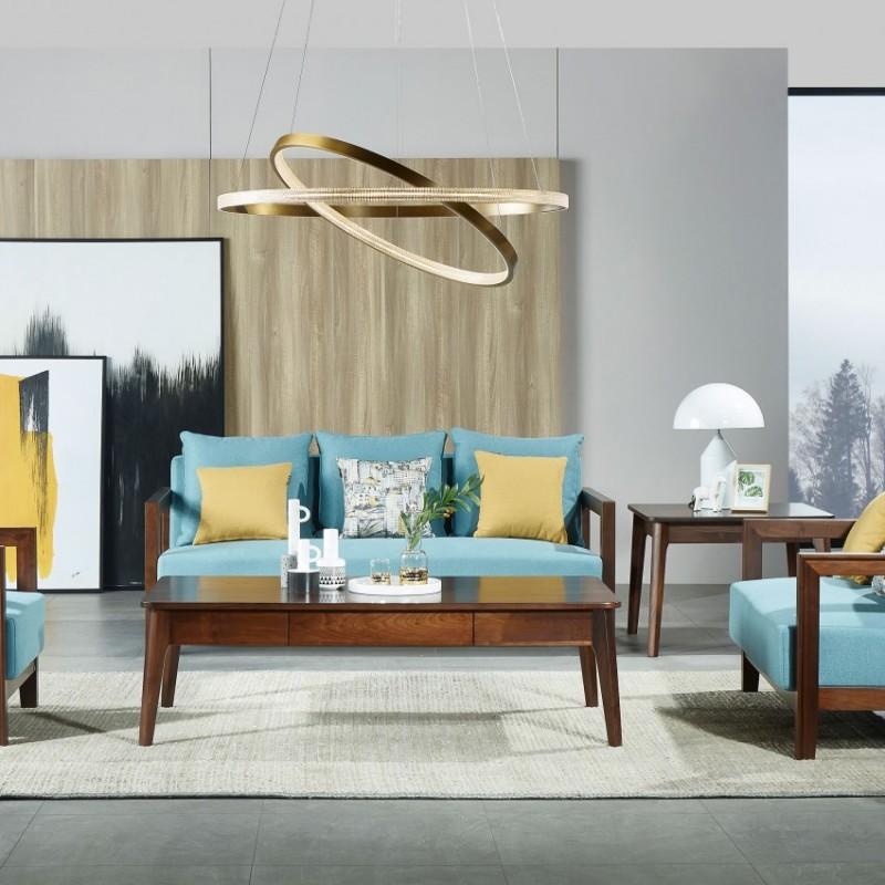 莫霞木各北欧风实木家具1805沙发套+1803方茶几