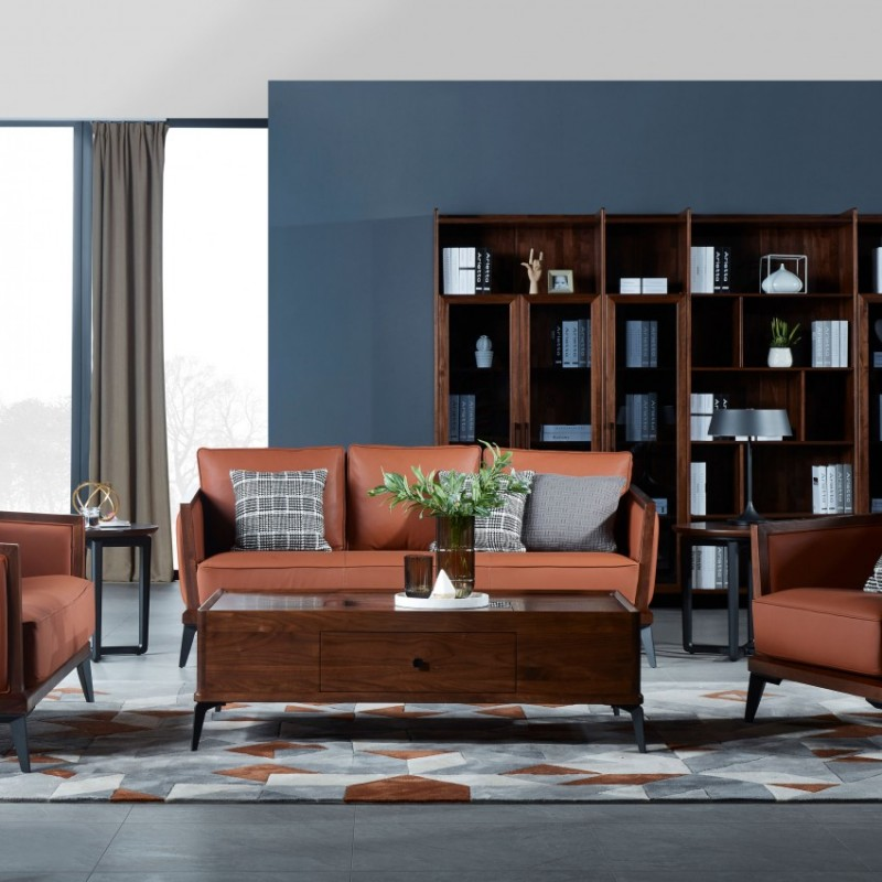 莫霞木各北欧风实木家具1806沙发+1803书柜+休闲几