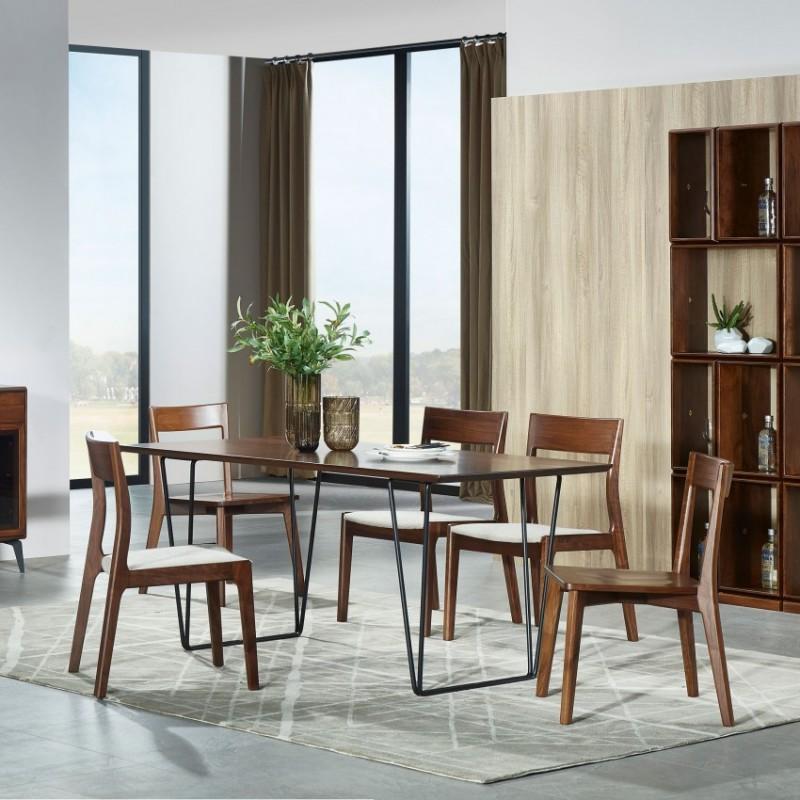 莫霞木各北欧风实木家具1808餐桌椅+1811餐具柜+1811装饰柜