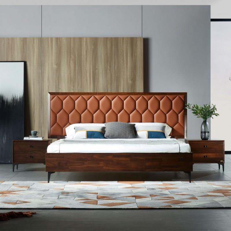 莫霞木各北欧风实木家具1811床+床头柜+1801衣柜
